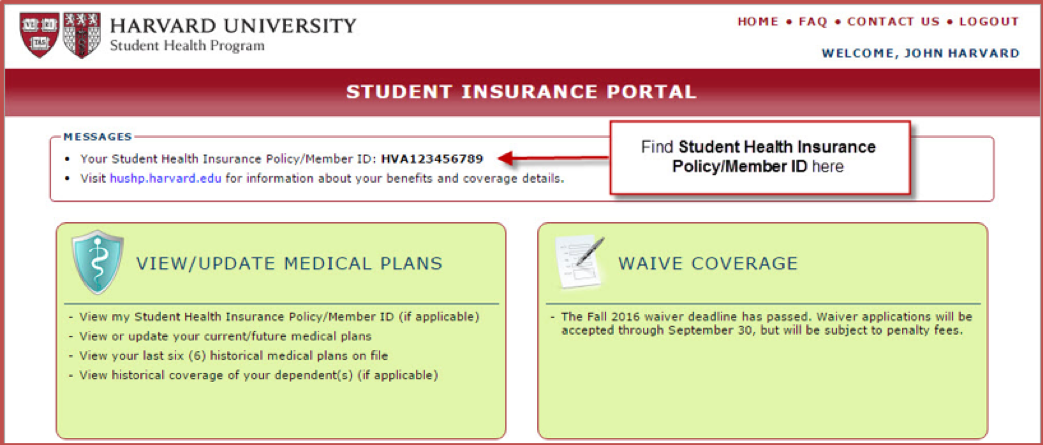 Insurance ID Cards | Harvard University Student Health Program